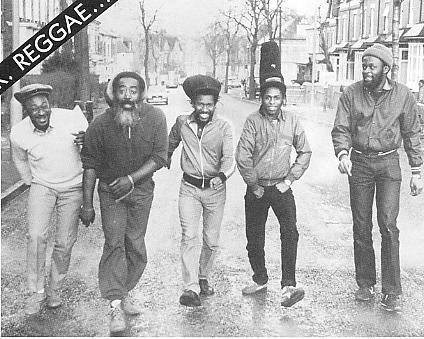 Steel Pulse in 1984 (left to right): Alvin Ewen, Steve Nisbett, Phonso Martin, David Hinds, Selwyn Brown [pic Tony Reid].