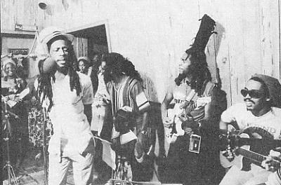 Recording Land of Africa at Tuff Gong studios in Jamaica: those present include the I Threes, Mutabaruka, Gregory Isaacs, Freddie McGregor, David Hinds and Cat Coore.