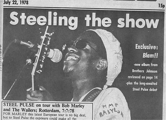 Front cover of Black Echoes - July 1978. Pictured is David Hinds.