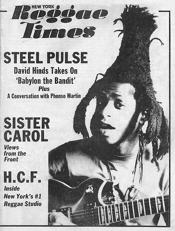 The front cover of the New York Reggae Times December 1985 showing David Hinds (click to enlarge).