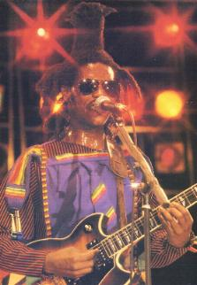 David Hinds on stage - from the book Reggae International.