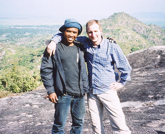 Sophal and the author on top of Phnom Bayang, resting after a hard climb.
