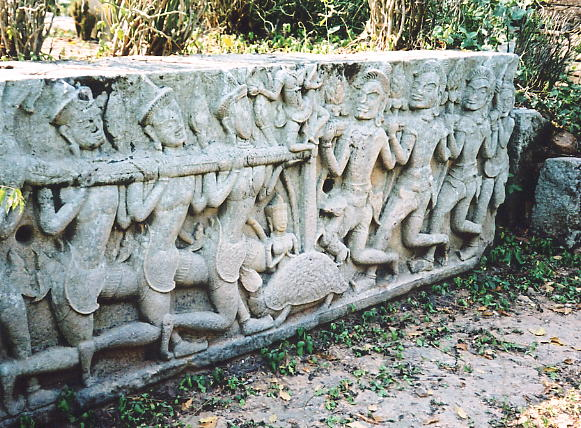 A superb Churning of the Sea of Milk lintel from Preah Theat Baray in Srei Santhor.