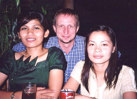 The author with Ara (left) and Lina, close friends from Tuol Kauk, Phnom Penh.