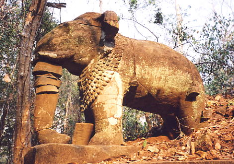 A remarkable elephant carving in sandstone at Prasat Damrei, in the Koh Ker complex.