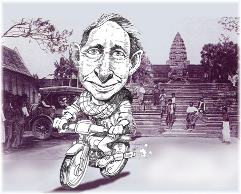 The author at Angkor Wat as seen by cartoonist Bun Heang Ung.