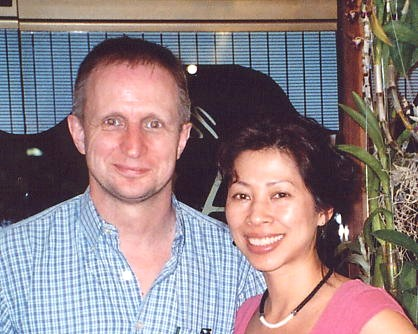 Andy Brouwer with Loung Ung, January 2007, Phnom Penh, Cambodia.