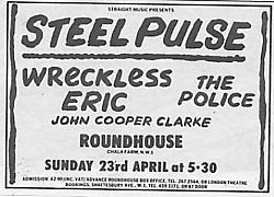 NME advert for the gig at The Roundhouse.