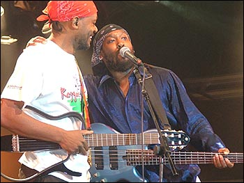 Basil Gabbidon and the show's compere Amlak Tafari on stage (Photo: BBC)
