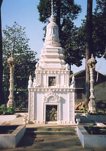 The genocide memorial stupa in the grounds of Wat Champuk Ka'Ek.