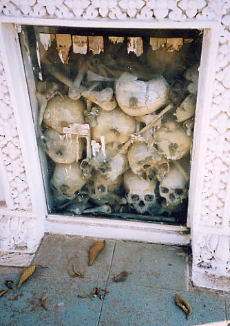 The memorial stupa at Wat Champuk Ka'Ek is full of victims skulls and bones, as a permanent reminder of the Khmer Rouge atrocities.