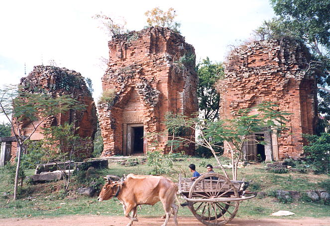 The three brick towers of Wat Snoeung East, built in the 9th century.