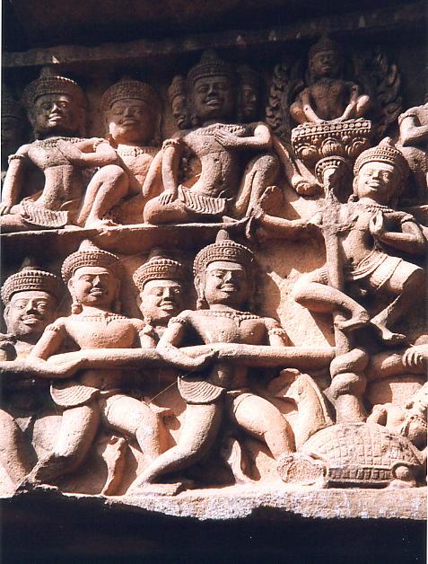 Gods pulling on the giant snake Vasuk, with Vishnu holding the pole coming from the giant turtle, Kurma.
