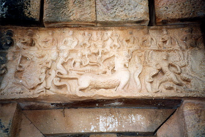 The west lintel shows the birth of Brahma, with Vishnu reclining on a lion-beast called a rajasimha, with Brahma seated on a stalk growing out of Vishnu's navel. Unfortunately my photo isn't the best!