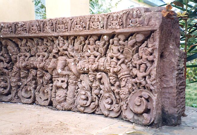This lintel shows Indra on top of the more usual 3-headed elephant Airavata.