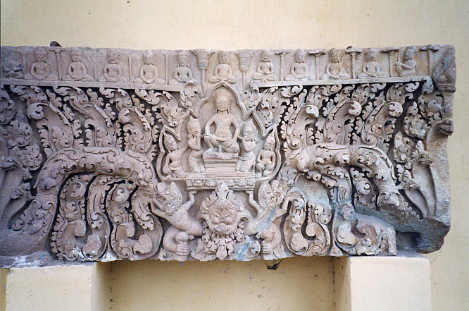 A finely carved lintel at the main museum in Battambang.