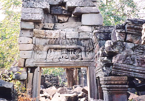 An infamous carving, showing the work of the temple thieves at Banteay Chhmar.