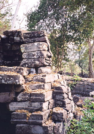 A side view of one of the remaining faces at Banteay Chhmar.