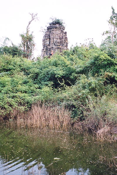 The main tower of Ta Prohm, visible from across the moat.