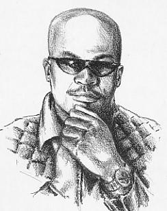 Basil Gabbidon, drawn for the cover of Bass Dance's 1990 album Loud by brother Colin.
