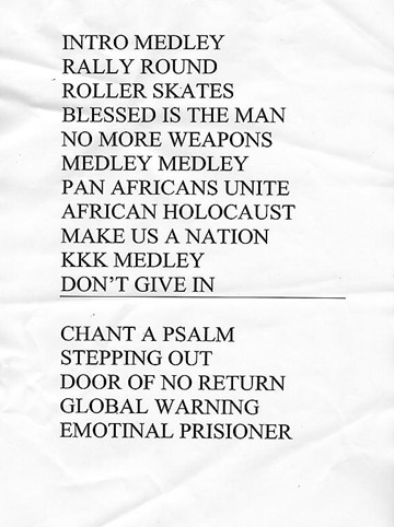 The official set-list from The Drum though Handsworth Revolution replaced Global Warning in the encore.