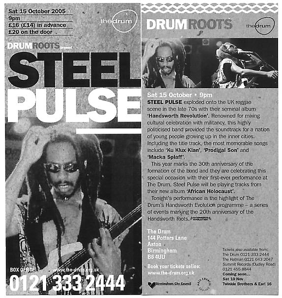 A flyer from the Steel Pulse gig at The Drum.