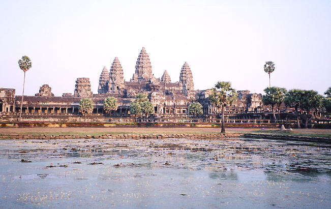 Angkor Wat, taken from the royal pool at the northwest corner, near the souvenir stalls.