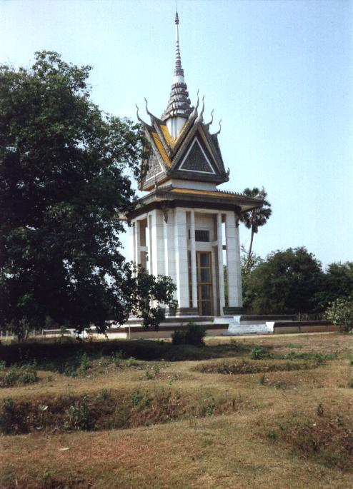 The marble chedi that houses the remains of over 8,900 victims