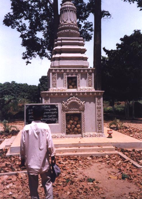 A killing fields memorial at Wat Champuk Kaek.