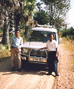 My faithful companions, Heng (left) and Rieng, and our borrowed 4WD.