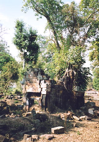 The main tower, split by a tree, at Prasat Takom.