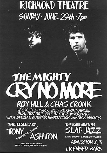 A Cry No More concert flyer from 29 June 1990 {click to enlarge}