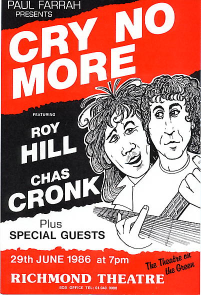 A Cry No More concert flyer from 29 June 1986 {click to enlarge}