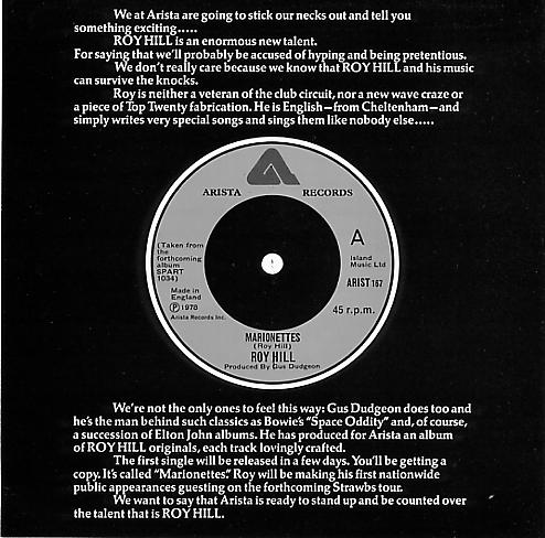 Arista Records published this flyer as a precursor to Roy's 1st single in 1978, called Marionettes.