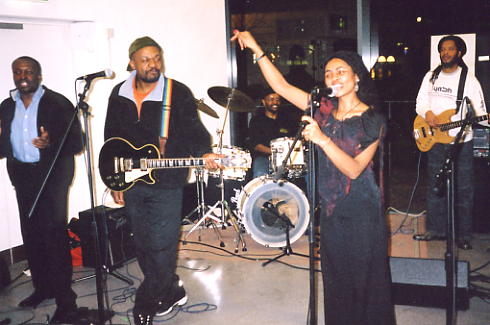 Yasmin & Basil, backed by his band members including younger brother Colin on drums (photo: Andy Brouwer).