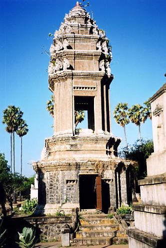 The imposing genocide memorial stupa at Wat Nokor.
