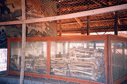 The remains of victims lay in the wooden memorial at Phnom Oudong.