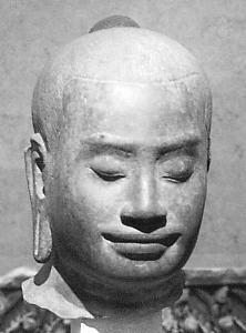 Portrait of Jayavarman VII, housed in the Guimet Museum, Paris.