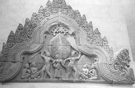 A pediment from Banteay Srei, now housed in the Guimet Museum, Paris.