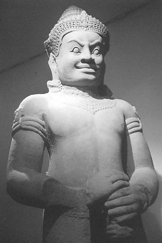 Giant Dvarapala guardian from Preah Thkol, Preah Khan, Guimet Museum, Paris.