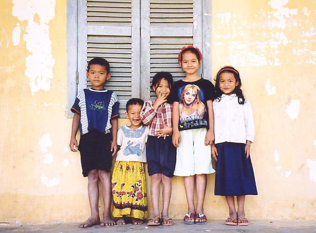 Children at the village school near Phnom Khyang in Kampot province.