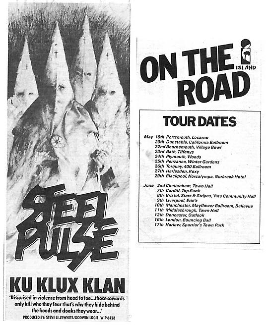 Ku Klux Klan advert & tour dates - May 1978.
