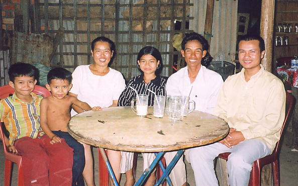 Sokhom's family and friends. On the right is Kunthea's English teacher.