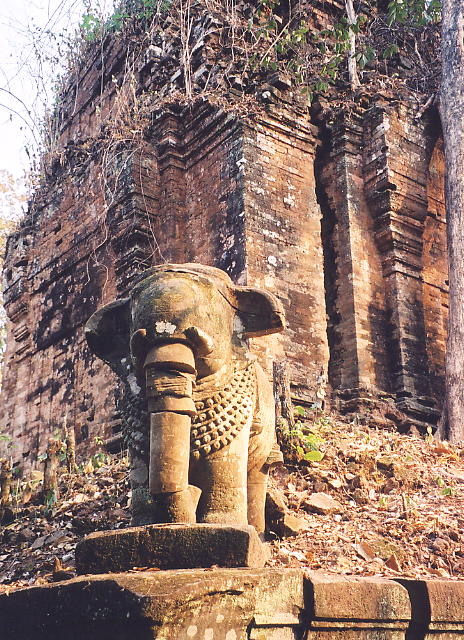 An elephant stands tall at Prasat Kraham.