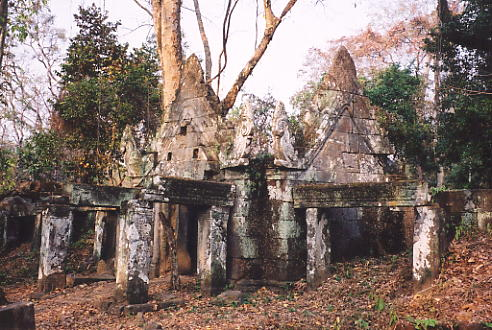 The distinctive gabled structures at Prasat Krachap.