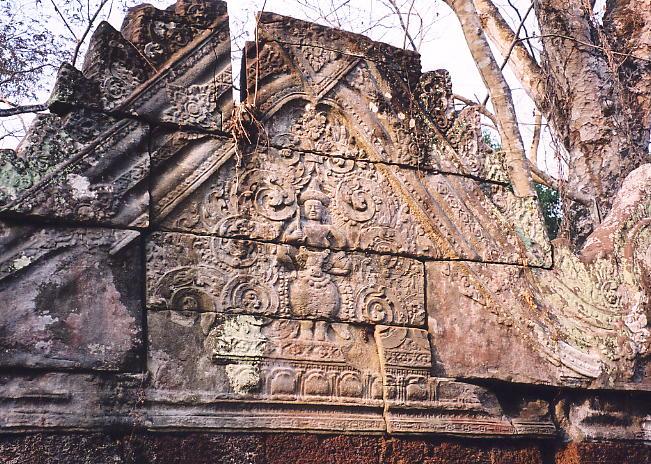 A finely decorated triangular pediment at Prasat Krachap.