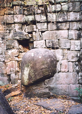The damaged linga at Prasat Leung 3. These lingum are the largest I see intact in Cambodia.