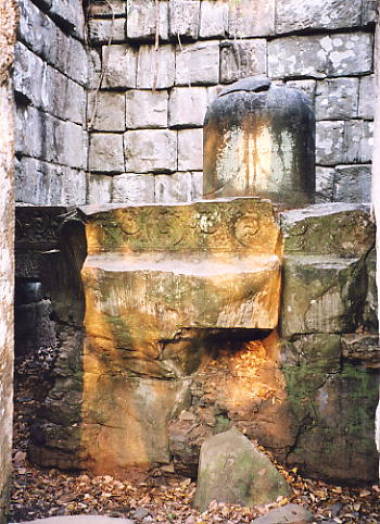 The linga and carved base at Prasat Leung 1.