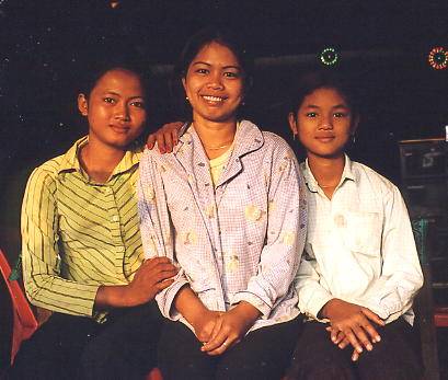 The three adorable waitresses at our restaurant in Siyong. This was the only time that Lee (on the left) didn't smile!