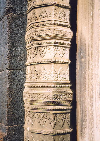 One of the finely carved colonettes at Prasat Neang Khmau.